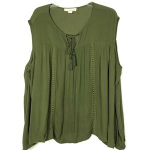 One Urban Day | Plus Size Cold Shoulder Green Top